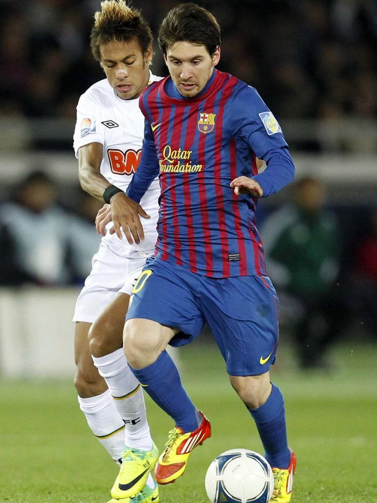 Lionel Messi brushed aside the Santos prodigy Neymar on Sunday