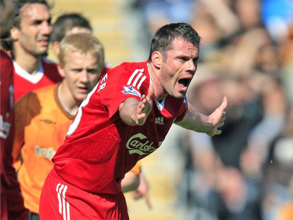 Jamie Carragher is finding it impossible to win back a starting place for Liverpool after returning from injury