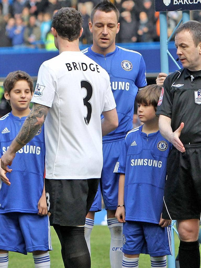 Wayne Bridge famously refuses to shake John Terry's hand last year after the Chelsea captain's alleged affair with Bridge's former partner