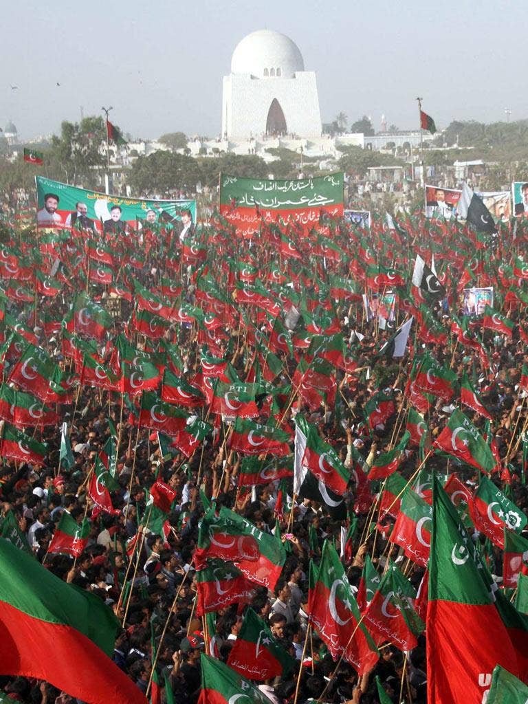 More than 100,000 people rallied in support of Pakistani cricket legend and opposition politician Imran Khan