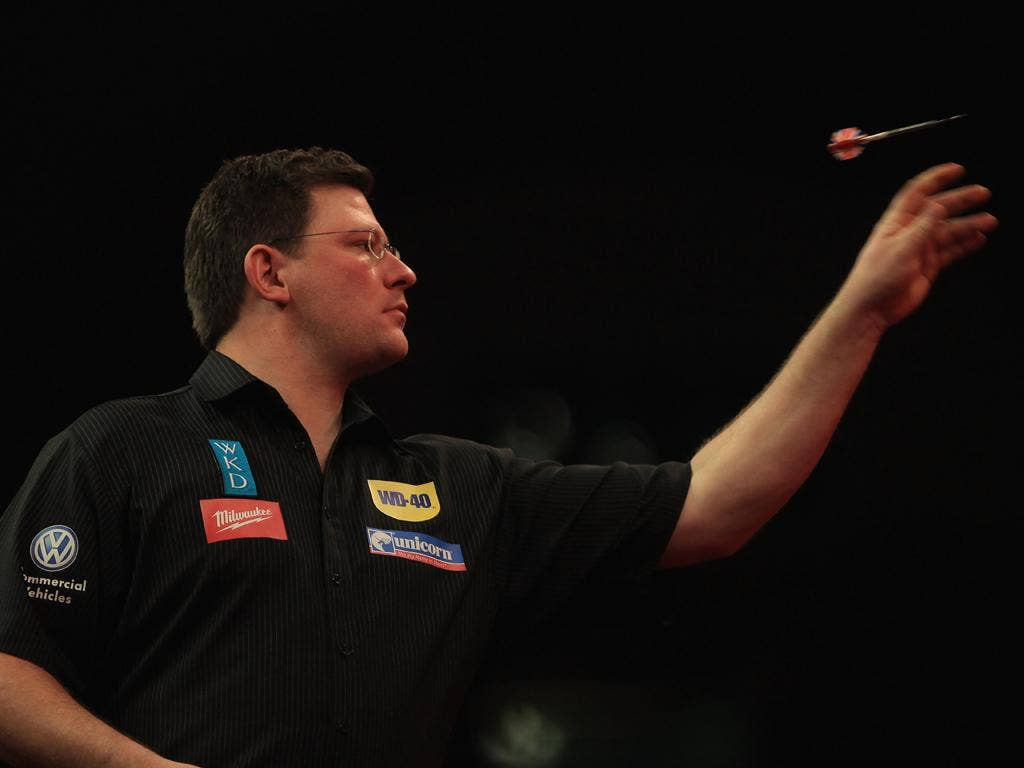 James Wade throws on his way to victory over John Part