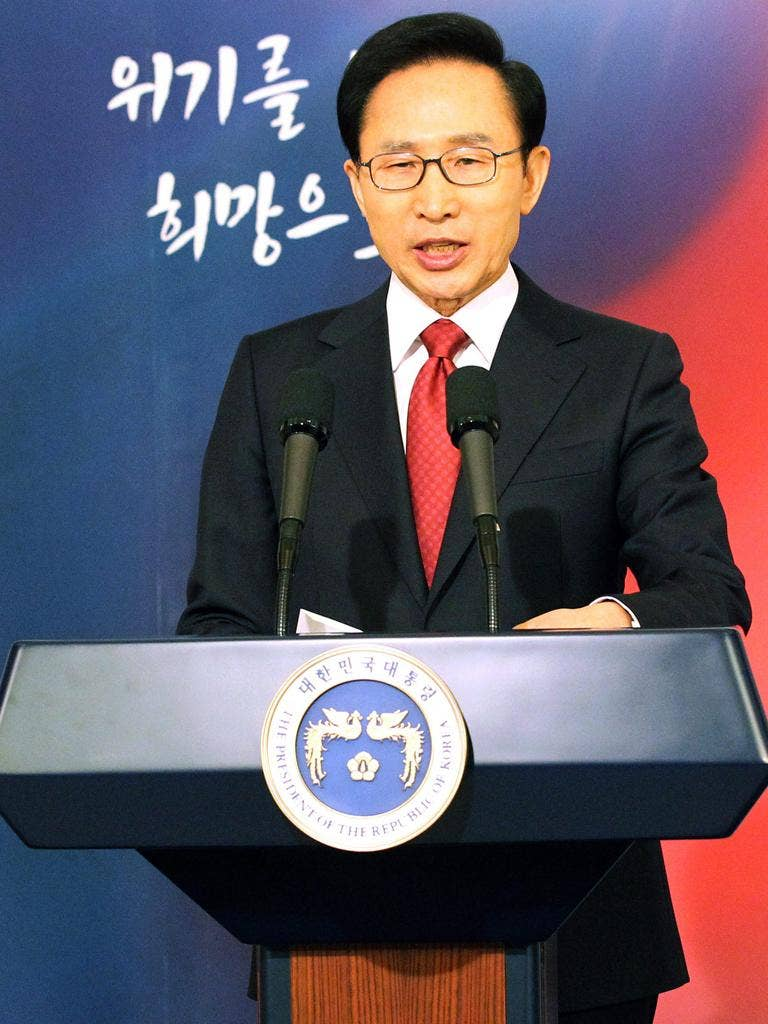 President Lee Myung-bak says he will respond to any aggression