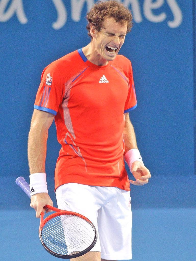 Andy Murray grimaces during his win over Mikhail Kukushkin