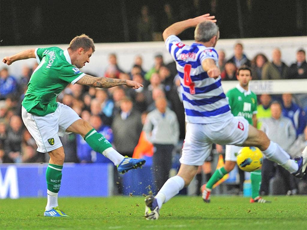 Anthony Pilkington scores Norwich's first goal in the win over Queen's Park Rangers