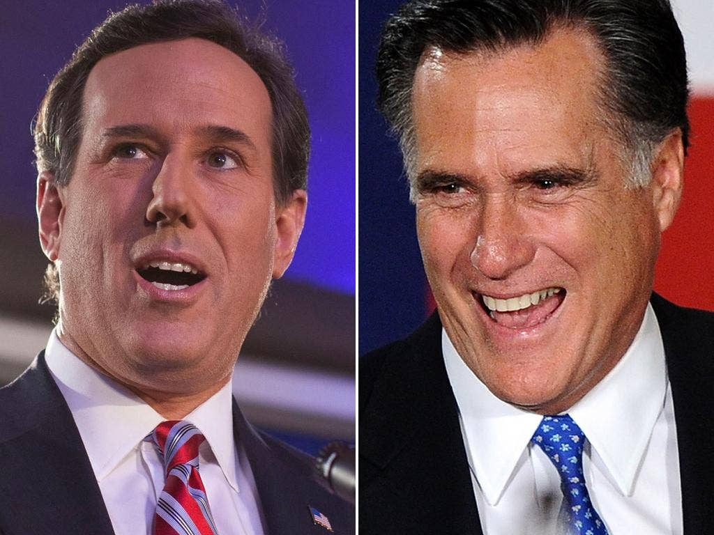 Santorum (left) and Romney ended in what was essentially a dead heat