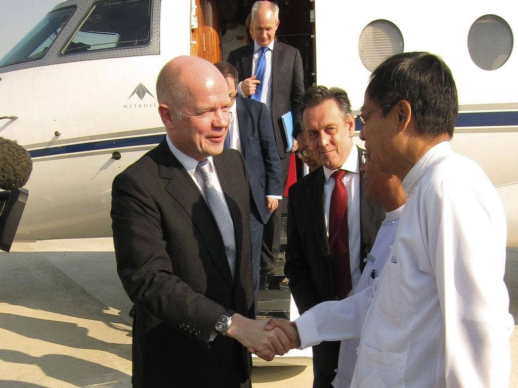 William Hague will meet opposition leader Aung San Suu Kyi and President Thein Sein during his trip