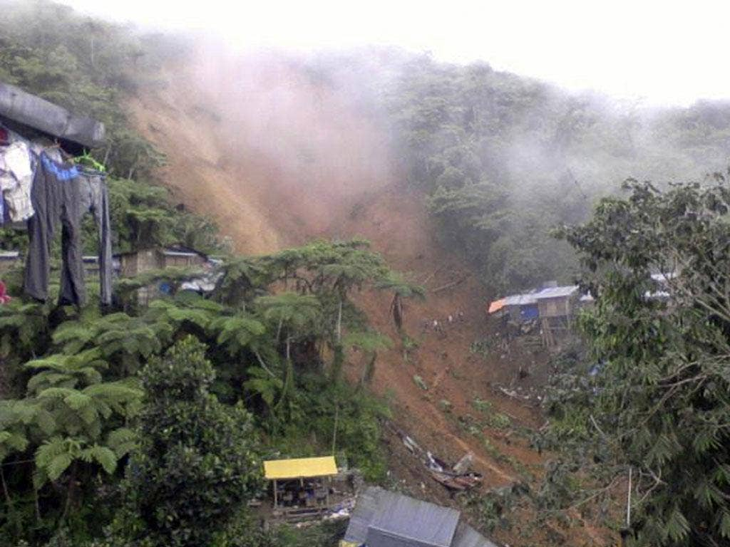 The mountainside in Napnapan village, Pantukan township, collapsed around 3am