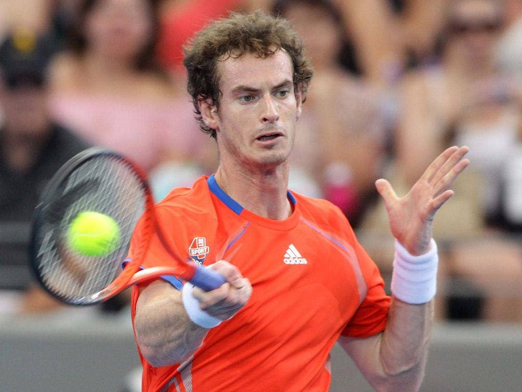 Andy Murray hits out en route to yesterday's straight-sets win over Alexandr Dolgopolov in the Brisbane International fina