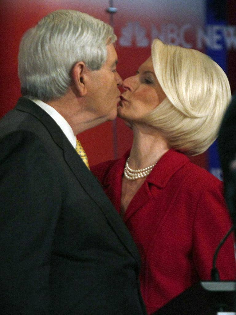 Newt Gingrich puckers up with wife Callista