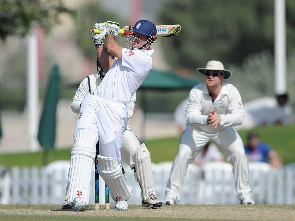 Andrew Strauss pictured in action today