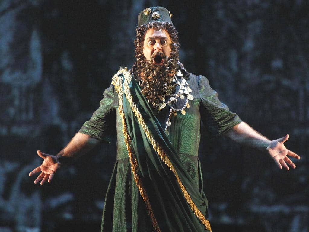 Roy Cornelius Smith in the role of Hannan during a dress rehearsal of Esther in New York