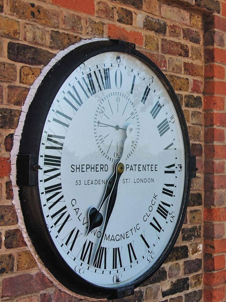 The Shepherd Gate Clock at the Royal Observatory, Greenwich, site of the prime meridian for the world