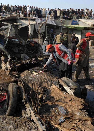 The explosion hit vehicles being used by the militia in the Khyber region
