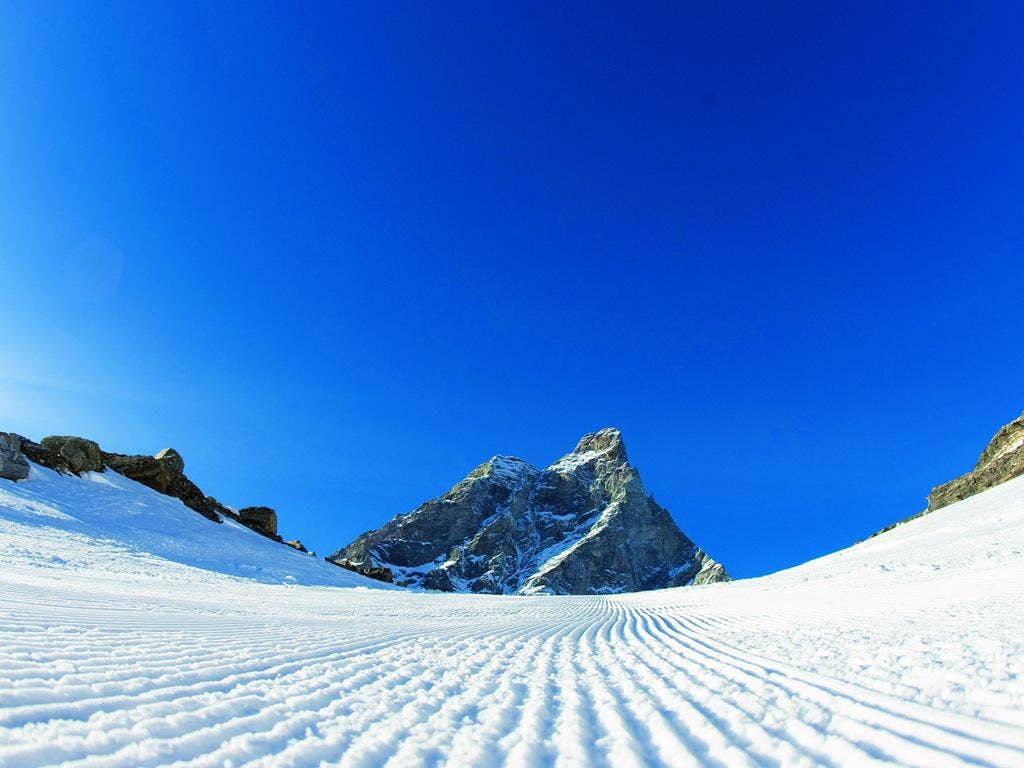 Free run: a groomed piste in Cervinia, Italy