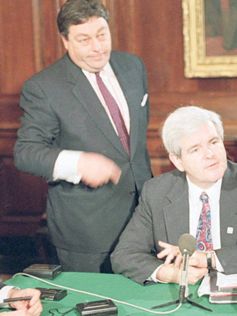 His master's voice: Blankley, left, with Newt Gingrich in 1995