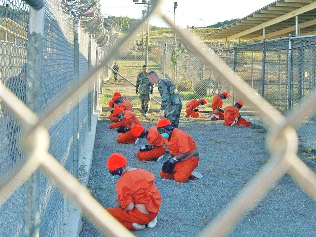Prisoners in Guantanamo Bay, where the first detainees arrived at the camp 10 years ago today