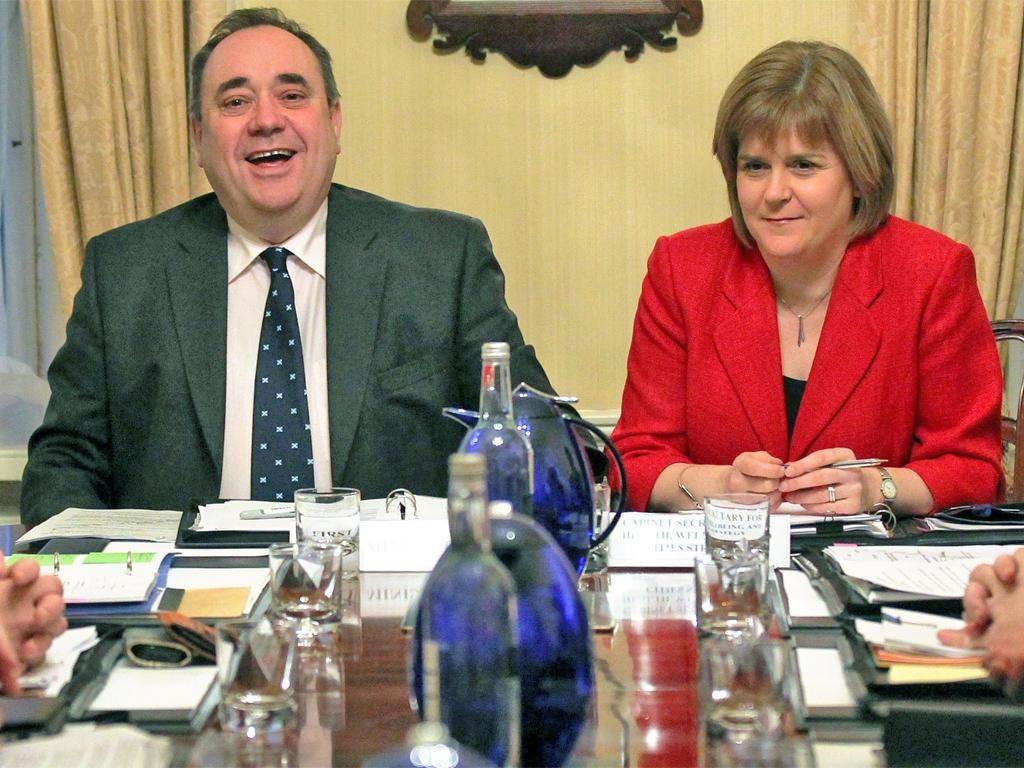 Alex Salmond with Deputy First Minister Nicola Sturgeon yesterday
