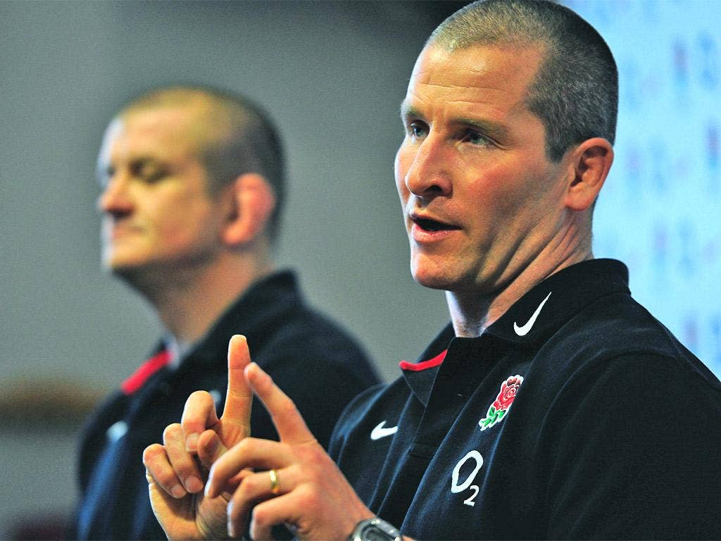Stuart Lancaster and forwards coach Graham Rowntree hold court