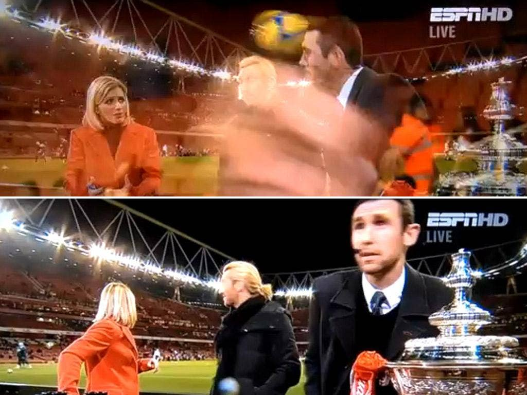 The moment that Martin Keown was hit by a ball on the touchline