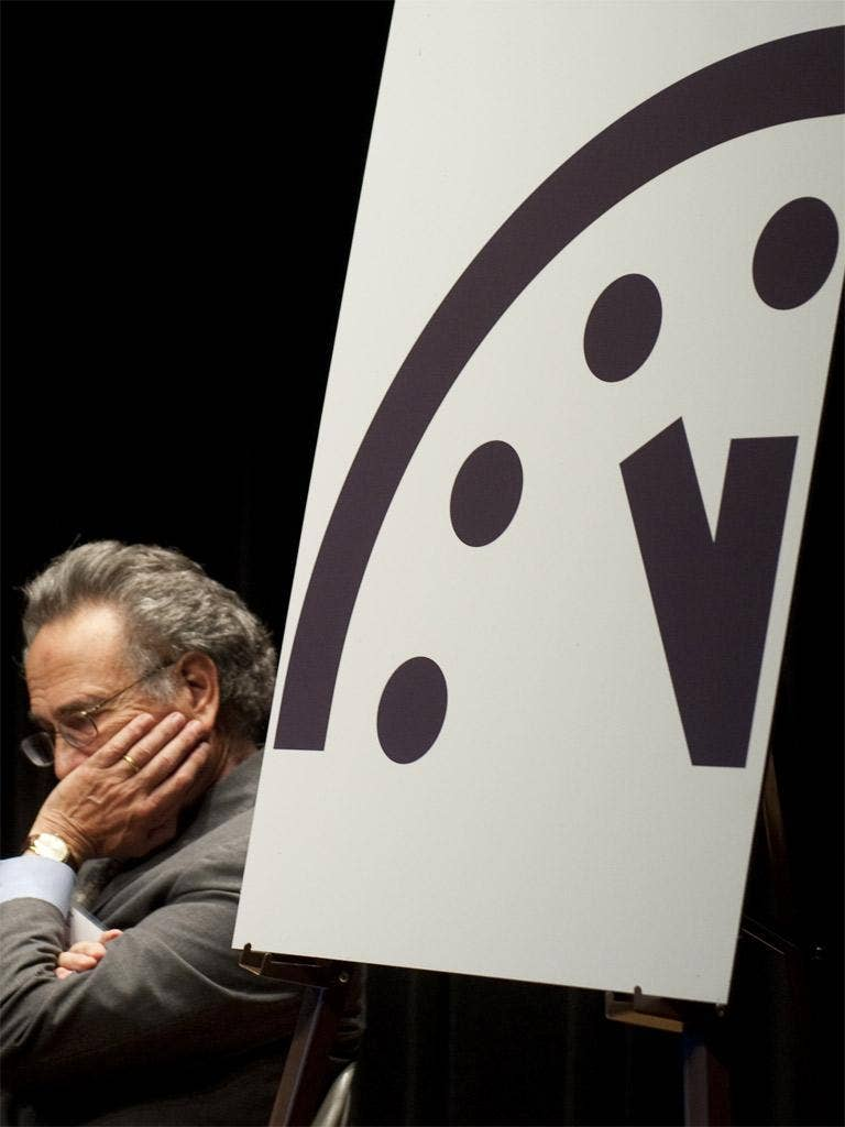Prof Robert Socolow, an expert in energy technology, with the time on the Doomsday Clock