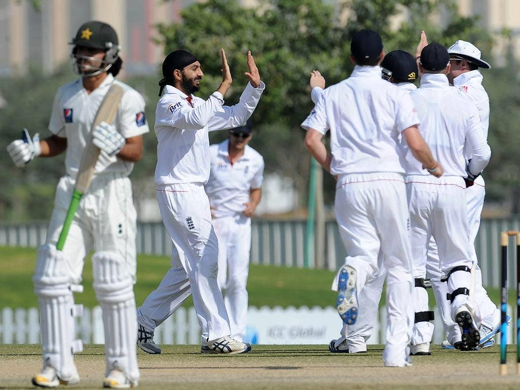 Panesar celebrates the taking of a wicket earlier today