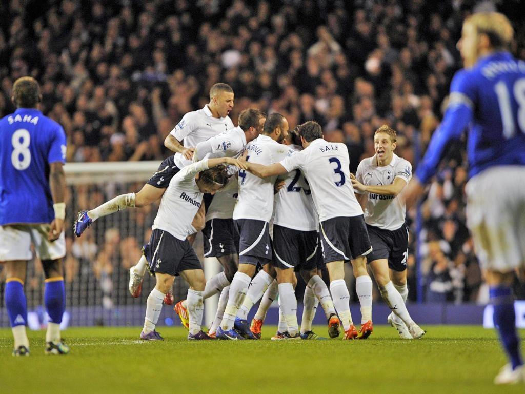 Spurs fullback Benoît Assou-Ekotto celebrates his goal against Everton