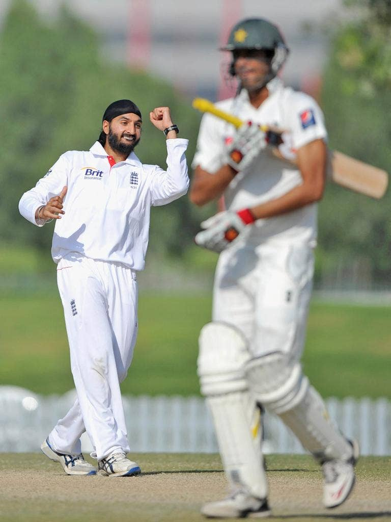England spinner Monty Panesar performs a relatively low-key celebration after dismissing Mohammad Talha