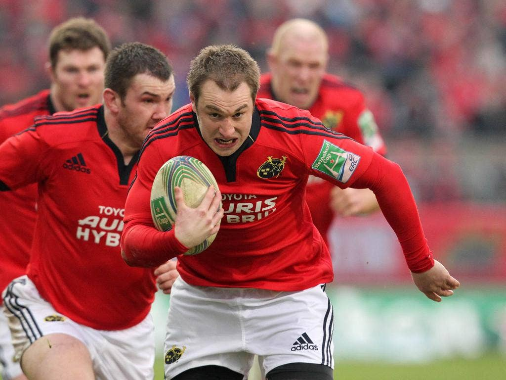 Johne Murphy, pictured, and Wian du Preez scored Munster's tries against Castres