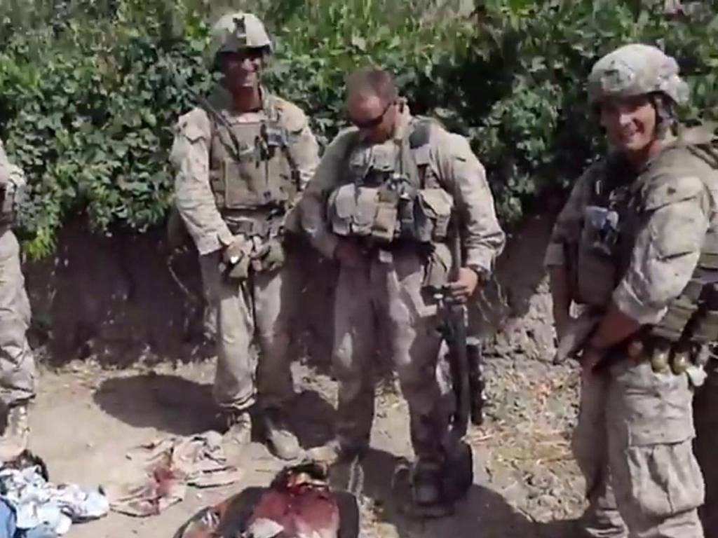 YouTube footage of US Marines apparently urinating on the bodies of Afghans caused outrage