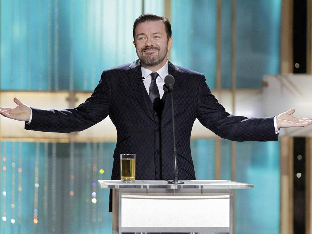 Ricky Gervais has single-handedly turned a second-rate gongfest into a second-rate gong-fest with very unhappy A-list guests