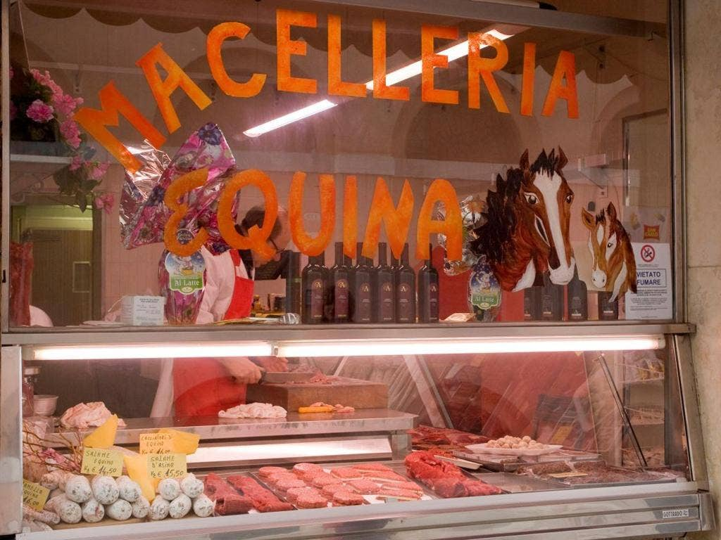 Europe, Italy, Venice. A butcher shop specializing in horse meat.