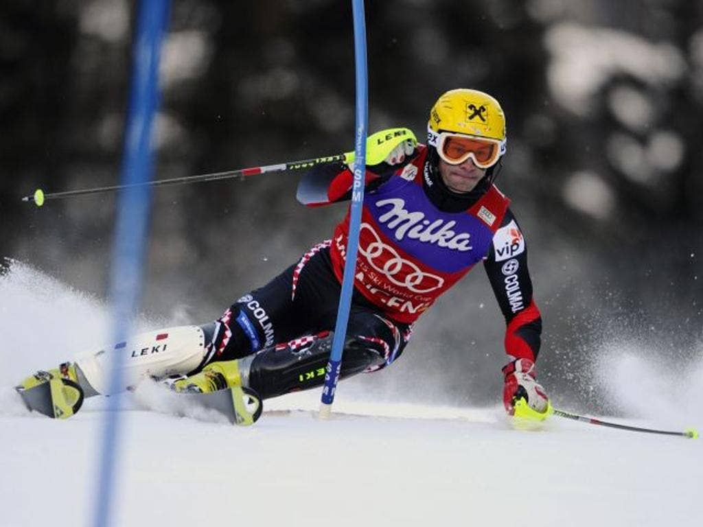 Ivica Kostelic on his way to a third straight win in the Wengen slalom