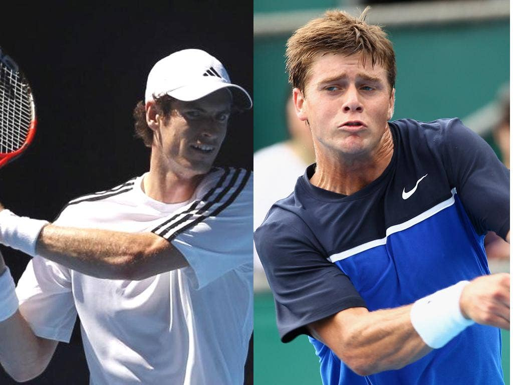 Ryan Harrison (right) is a 'serial racket-thrower'; but has a powerful game; Andy Murray practises in Melbourne yesterday