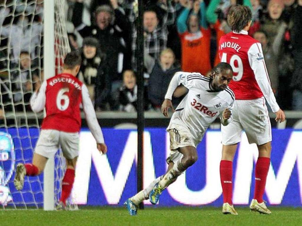 Nathan Dyer turns away after scoring Swansea's second against Arsenal