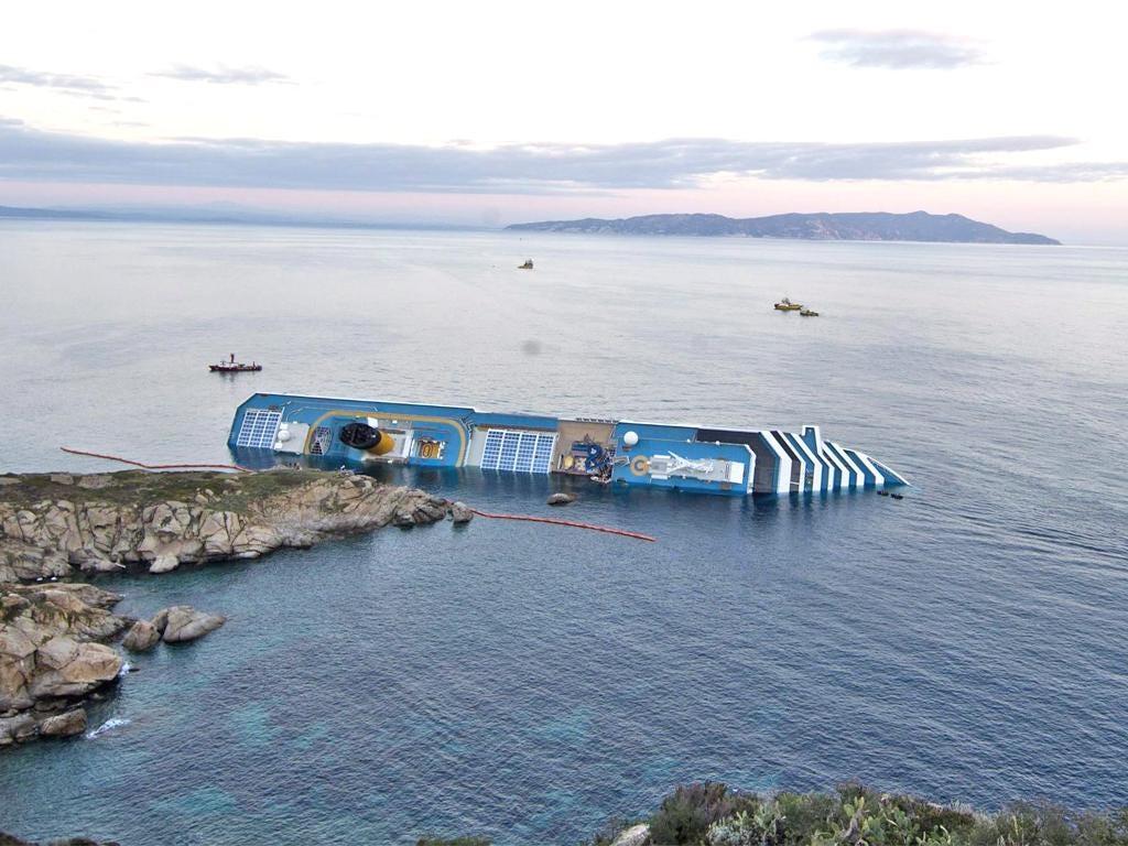 The stricken cruise liner Costa Concordia off the Island of Giglio