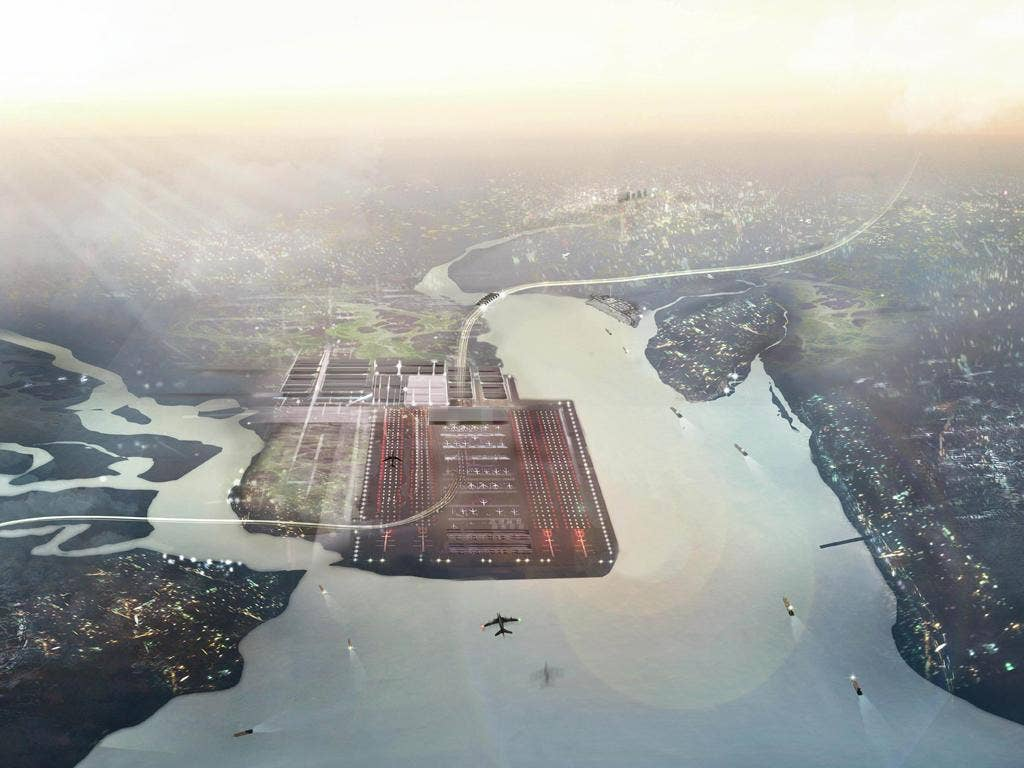 An artist's impression of the Thames Hub, a four-runway Thames Estuary airport