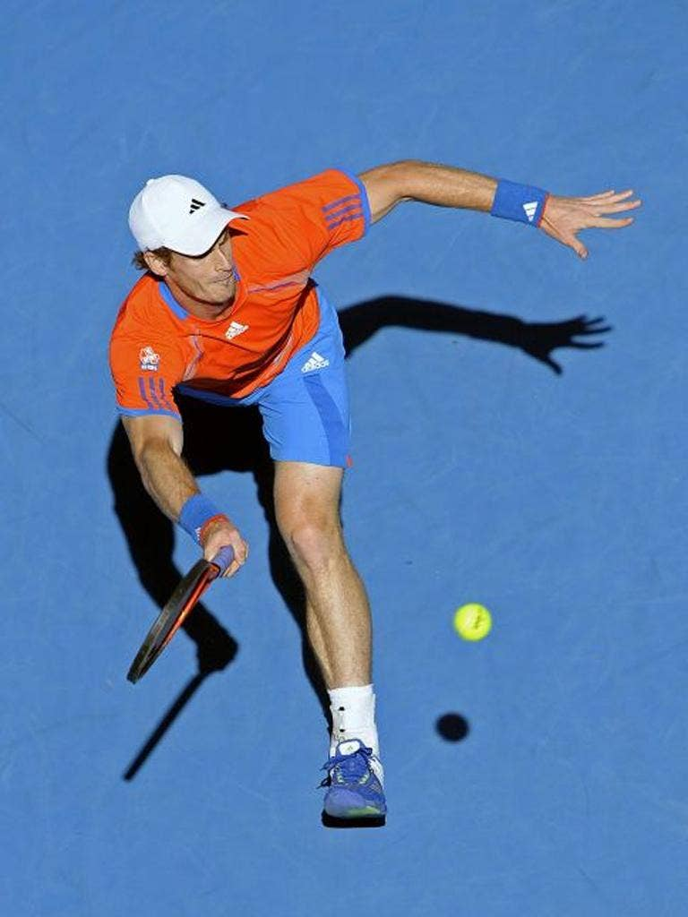 Andy Murray on the run during his win over Edouard Roger-Vasselin