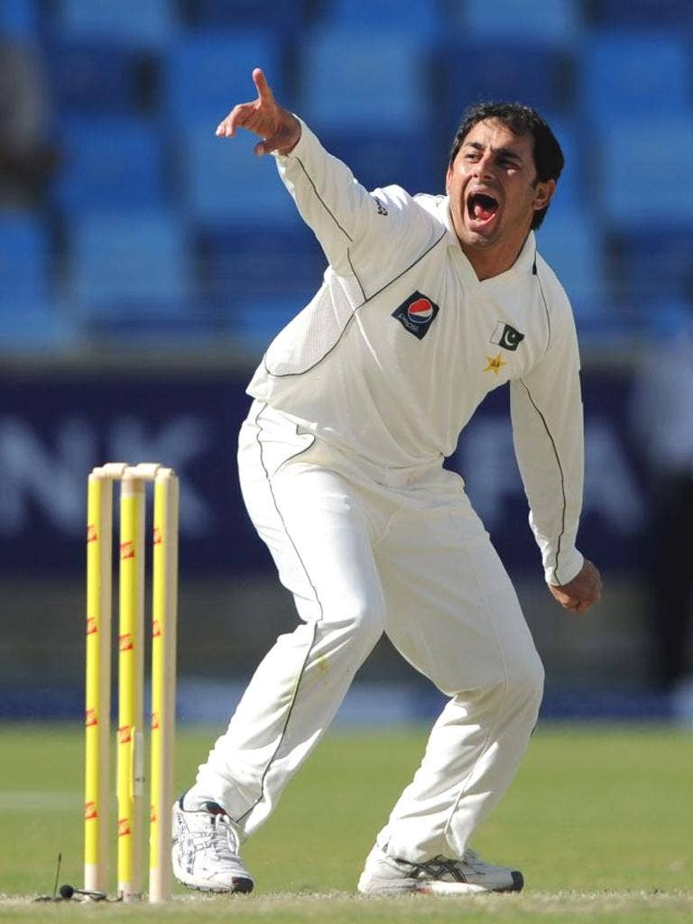 Saeed Ajmal appeals for another wicket on the final day