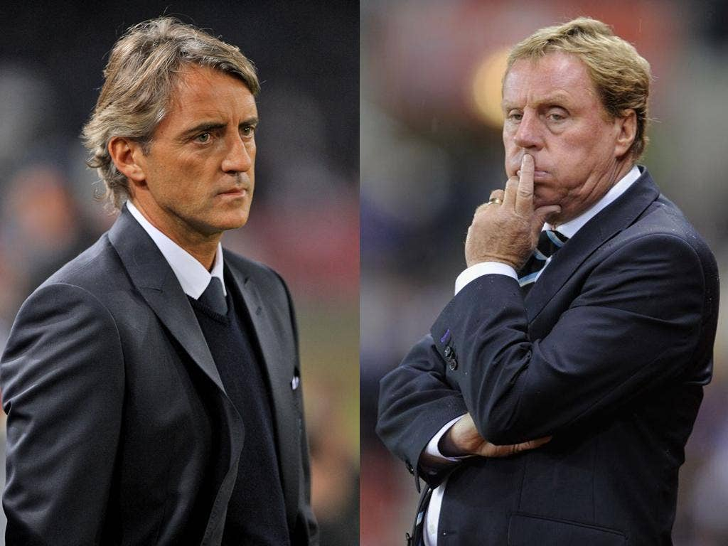 Manchester City manager Roberto Mancini (left) and Tottenham Hotspurs manager Harry Redknapp