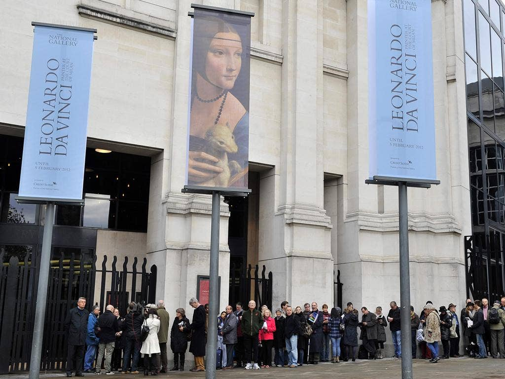 Long wait: queues for the National Gallery's Leonardo show