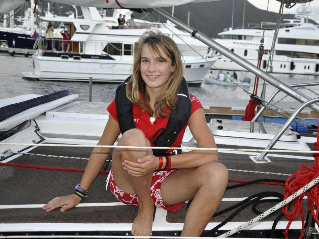 Laura Dekker on her sailboat Guppy in Simpson Bay at the start of her 500-day round-the-world adventure that is nearing its end