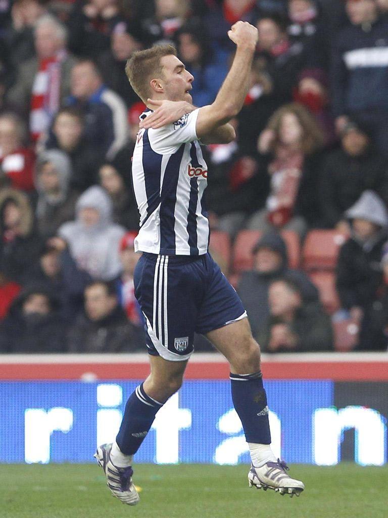 James Morrison gestures after scoring West Bromwich's opener