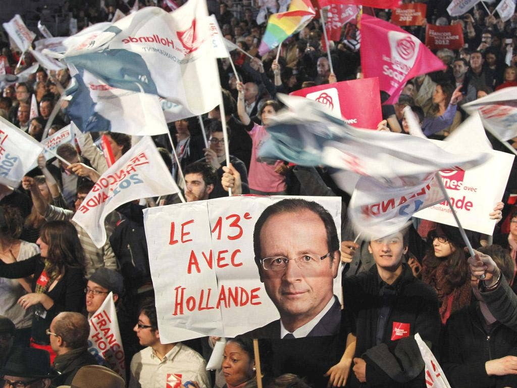 Supporters of François Hollande at yesterday's rally in Le Bourget