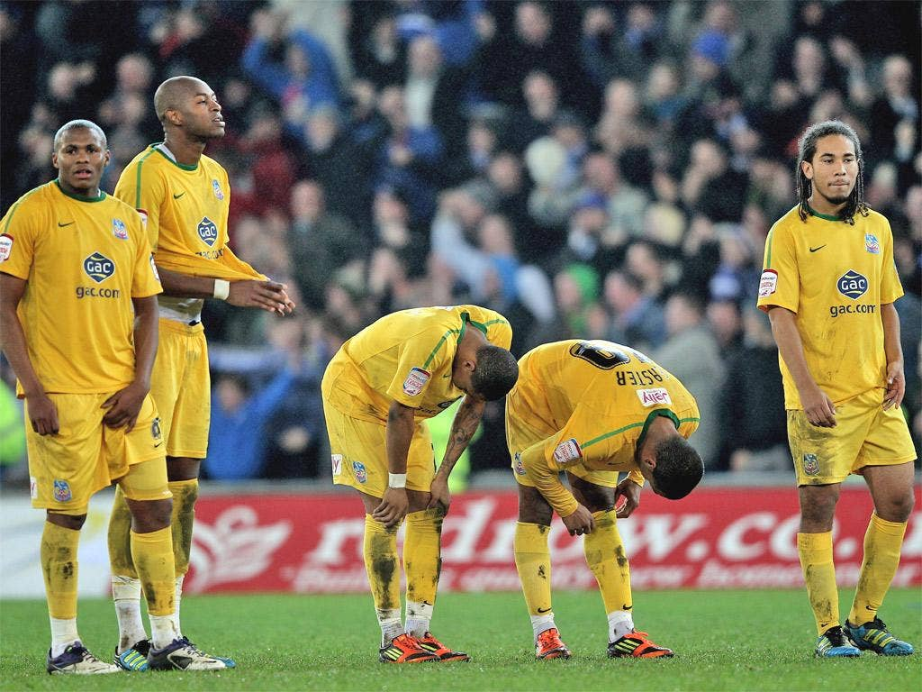 The Crystal Palace players feel the pain of penalty shootout misery