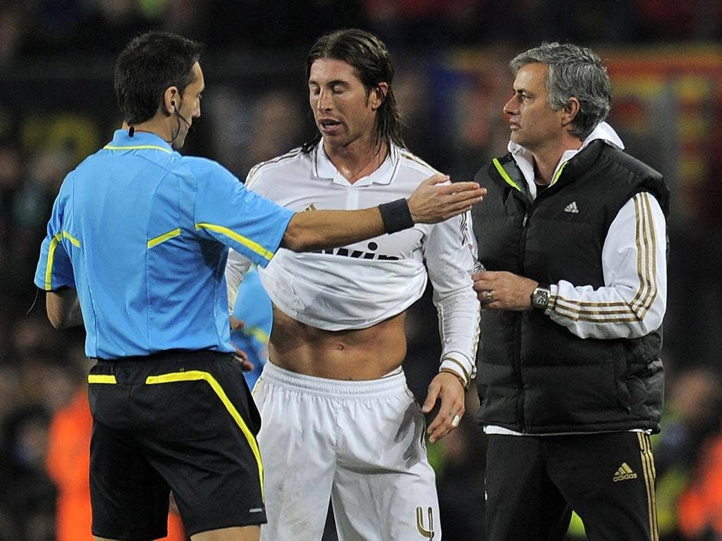 Sergio Ramos was sent off late in the game