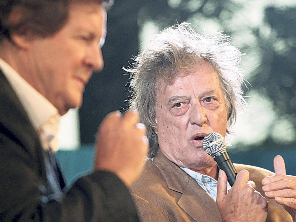 David Hare, left, and Tom Stoppard in Jaipur