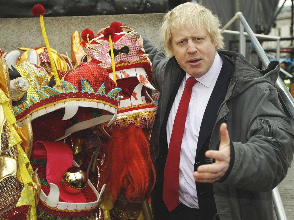 Boris Johnson celebrates Chinese New Year in Trafalgar Square, yesterday