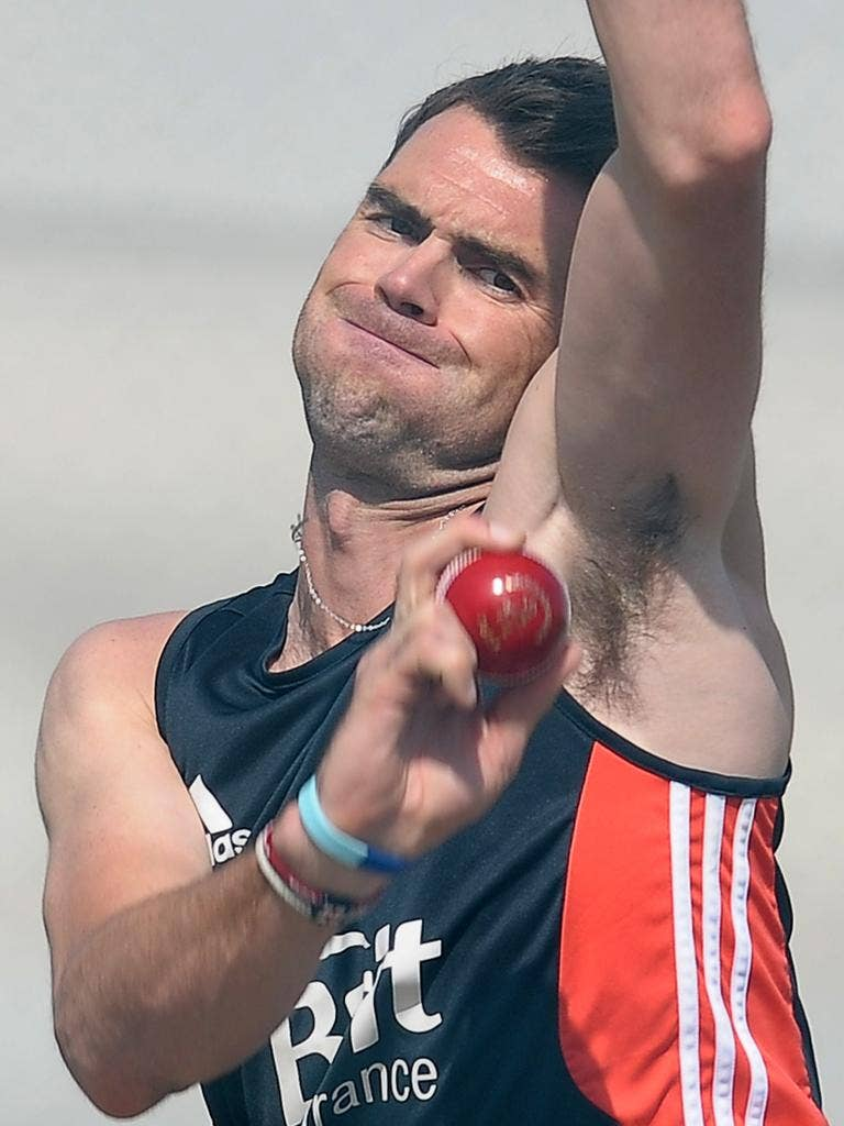 James Anderson inaction at the England nets session yesterday
