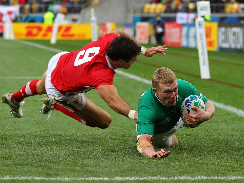Keith Earls pictured scoring against Wales in the World Cup