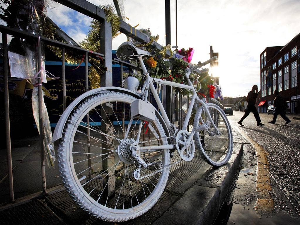A 'ghost bike' memorial to a killed cyclist in Woolwich, south-east London